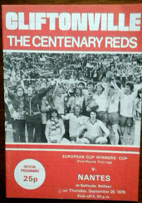 Cliftonville V Nantes 20/9/1979 European Cup Winners Cup