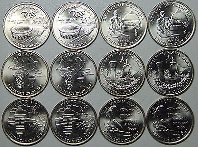 2009 DC Quarter P and D and US Territories BU Set -12 coins from US mint rolls!