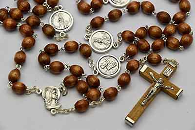 Wooden Catholic Rosary Beads Dedicated to St Bernadette - BLESSED In LOURDES (44