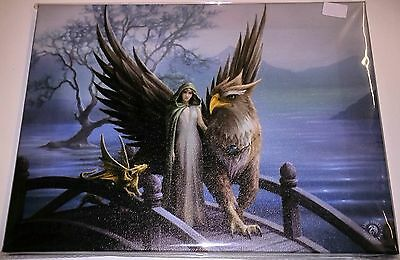 Realm Of Tranquillity Canvas - Anne Stokes - 25 x 19 cm - Griffin - Dragon
