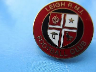 Old..leigh R.m.i. Football Club..red & White..gilt Backed Pin Badge