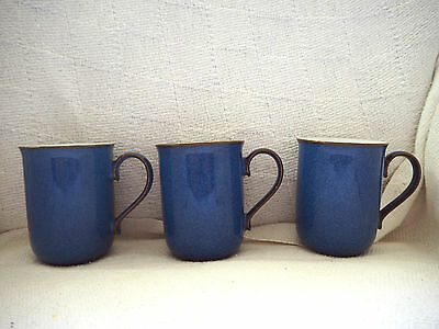 Denby Imperial Blue 3 x Straight Sided Mugs - Used - White interiors