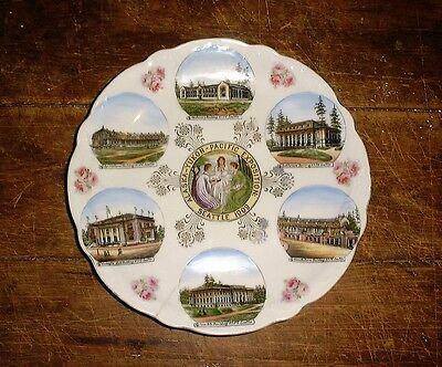 Vintage Souvenir Plate Alaska Yukon Pacific Exposition AYPE Seattle 1909 fisher