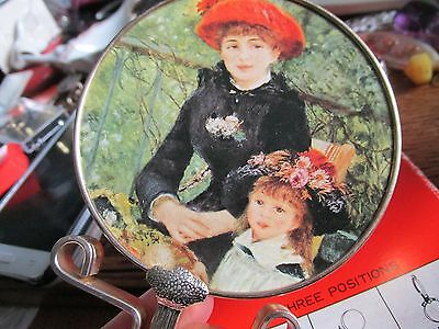 Small Vintage Hand And Set Up Mirror, Very Pretty.