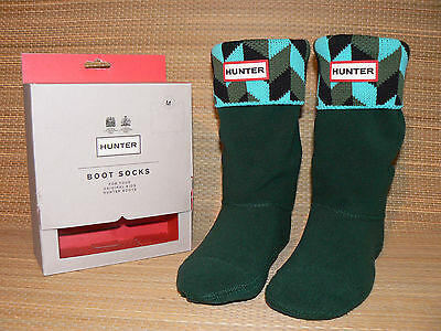 Hunter * Geo Dazzle * Unisex Boot Welly Fleece Knit Socks  M Uk 10 12 New In Box