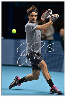 Roger Federer Backhand Australia Open Rare Autographed Large Poster. Awesome