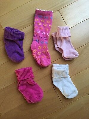 NEW Baby Girls SOCKS LOT 5 Pairs 6 12 Months solid variety colors ankle and knee