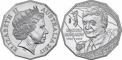 AUSTRALIA 2016 RICHIE BENAUD 50c cent CRICKET coin UNC in RAM Mint card