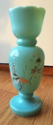 Vintage Bristol Glass Green Pedestal Vase with Hand Painted Flowers
