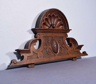 "*32"" French Antique Pediment/Crest in Oak Wood with Shell Top"