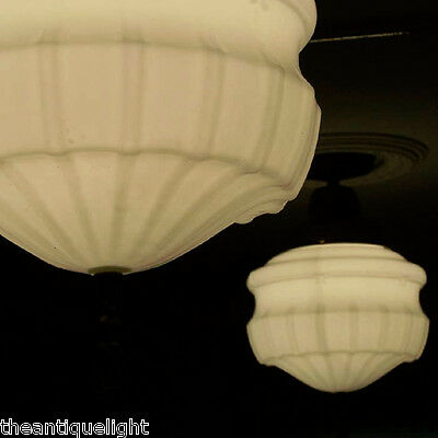 209 Vintage 30's Ceiling Light Lamp Fixture Glass Pendant Hall  Porch  1 of 2