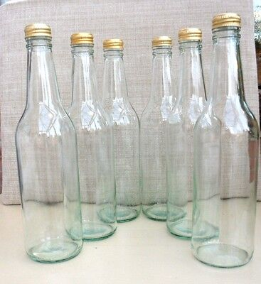 SIX 500ml CLEAR GLASS  BOTTLES WITH TREE DESIGN ON METAL SCREW CAPS