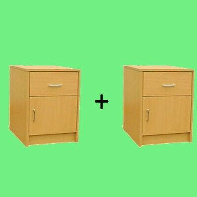 *NEW* TWO x BEDSIDE TABLES BEECH MADE IN UK (2 x R115B)