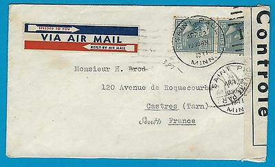 USA airmail censored cover 22 APR 1941 St.Paul by Clipper to South of France