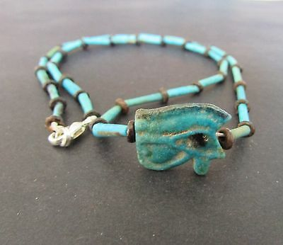 NILE  Ancient Egyptian Eye of Horus Amulet Mummy Bead Necklacec ca 1000 BC