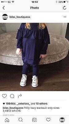Frilly Navy Girls Tracksuit