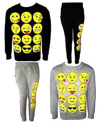 Girls Novelty Emoji Smiley Faces Emotions Emoticons Print Top Jumper Jog Pants