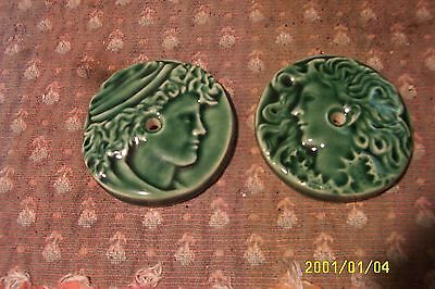 antique cast iron  parlor stove tile reproductions from originals green 2 5/8