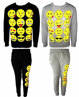Girls Novelty Emoji Smiley Faces Emoticons Print Sweat Jumper & Jog Pants 2 SET