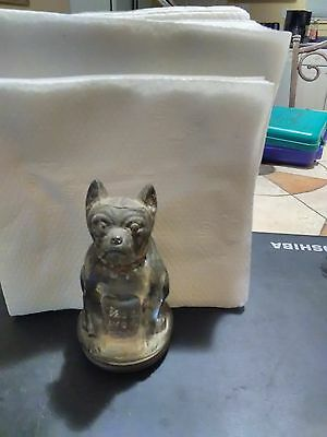 antique cold painted boxer dog glass candy container tin lid original paint USA