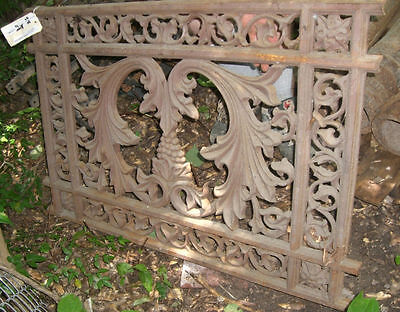 Antique Iron fence panel Victorian grape floral Ornate 1880