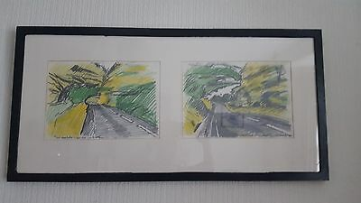 John Bratby, The Road, pencil drawing, 1979, ORIGINAL