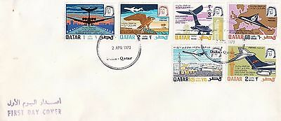 P 1872 Qatar April 1970 First Day Cover; Gulf Aviation VC - 10 stamps