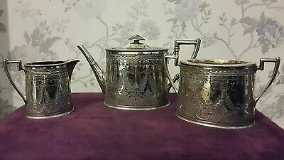 A Very Ornate Victorian 3 Piece Silver Plated Tea Service