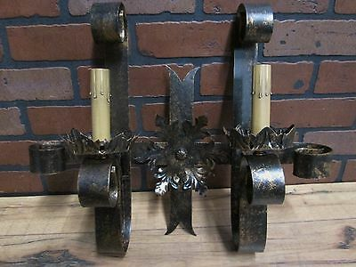 Vintage Antique Gothic Spanish Revival Wall Sconce Light Calif. Monterey 18""