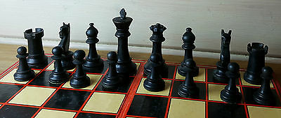 "Vintage 80's Large Wooden Chess Men Staunton Style 3.5"" King No Board"