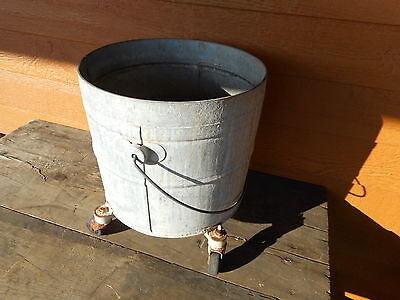 GALVANIZED Mop BUCKET Vintage PRIMITIVE INDUSTRIAL COUNTRY PLANTER Geerpres