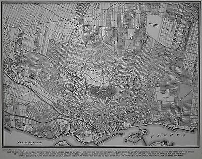 Great Vintage 1943 OLD World War WWII City Map Montreal, Quebec, Canada L@@K!