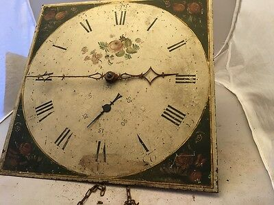 "Early 19c Antique 30 Hour Longcase Grandfather Clock Movement 12"" Dial"