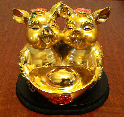 Chinese Feng Shui Lucky Gold Good Fortune Wealth Pig Money sculpture