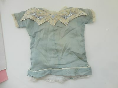 Antique Blue Silk W Lace Bisque Doll Dress & Slip