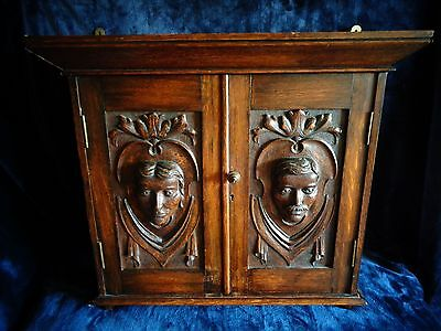 Unusual Antique Carved Oak Pipe Cabinet
