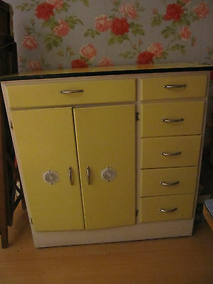 1950s free standing  kitchen unit in yellow