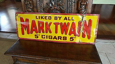 1920s-1930s Mark Twain 5 Cent Cigar Tobacco Tin Embossed Tacker Sign