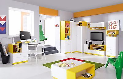 Kids children bedroom furniture shelf TV cabinet table desk storage blue yellow