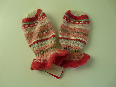 Bnwt Monsoon Baby Girl Pink Striped Soft Wool Angora Mittens Size 0-12 Months