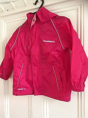 Girls/Childs Pink light Mountainlife pack a mac anorak age 3-4