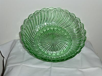 Vintage Green glass dessert bowl and plates