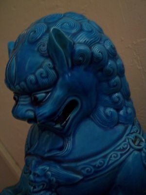 vtg 2 FOO DOGS lamp STATUES [1 PAIR]Chinese BLUE BIG large antique