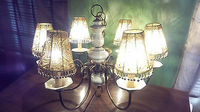 Vintage Shabby Chic 6 LIGHT CHANDELIER WITH OFF Beige SHADES and Beads