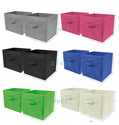 2 x Large Foldable Square Canvas Storage Box Collapsible Fabric Cubes Kids Home