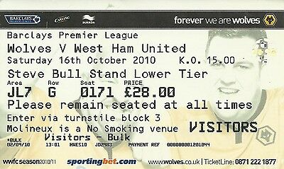 Ticket - Wolves v West Ham United - FA Barclay's Premiership - 16 October 2010