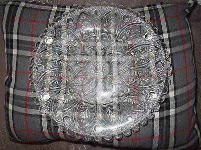 Vintage Serving Plate.  Pressed Glass. Clear.