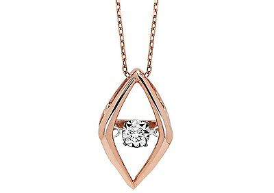 """Rhythm Of Love 10Kt Gold Rose  Diamond 0.02Ctw 18""""  Cable Chain"""