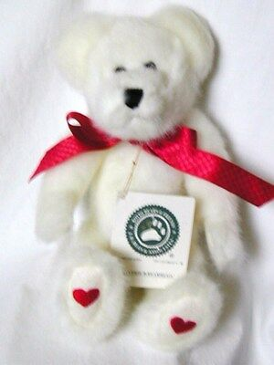 Teddy Bear, White With Red Hearts & Ribbon, Boyds, EXC.