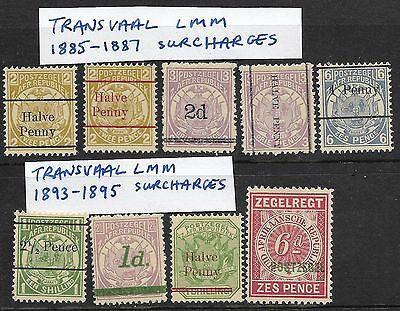 Transvaal 1895 - 1901 Surcharges mint  (15)